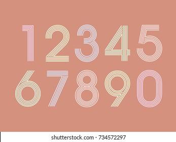 (Element) set of ten numbers form zero to nine, number flat design - Shutterstock ID 734572297