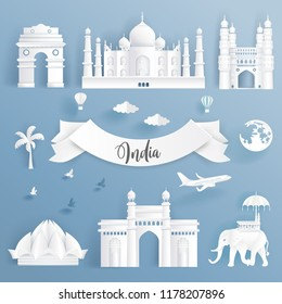 Element set of world famous landmarks of India, all in paper cut style beautiful vector illustration.