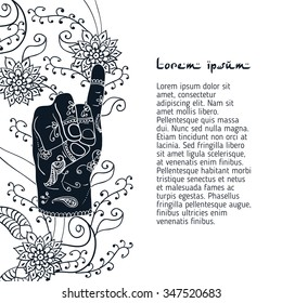 Element yoga apan vayu mudra hands with mehendi patterns. Vector illustration for a yoga studio, tattoo, spa, postcards, souvenirs.