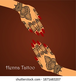 Element yoga mudra hands with henna art. Vector illustration for a yoga studio, tattoo, spas, postcards, souvenirs. Indian traditional lifestyle.