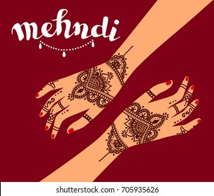 Element yoga mudra hands with mehendi patterns. Vector illustration for a yoga studio, tattoo, spas, postcards, souvenirs. Indian traditional lifestyle.