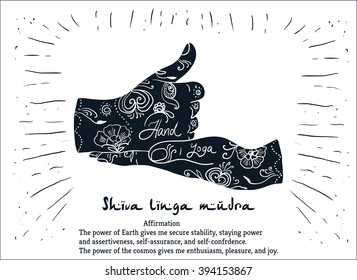 Element yoga shiva linga mudra hands with mehendi patterns. Vector illustration for a yoga studio, tattoo, spa, postcards, souvenirs.