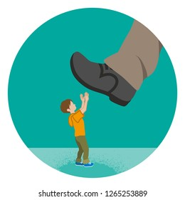 Elementary aged boy who is nearly trampled by the huge foot - Child abuse concept art