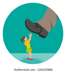 Elementary aged girl who is nearly trampled by the huge foot - Child abuse concept art