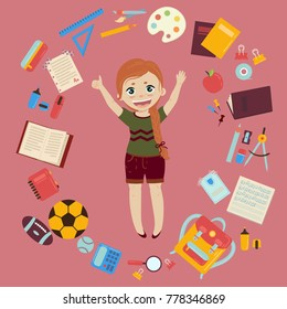 Elementary or middle school ginger schoolgirl. Supplies from girls backpack notebooks, planner, pencil case textbook apple ball for soccer and rugby. School infographics set of elements