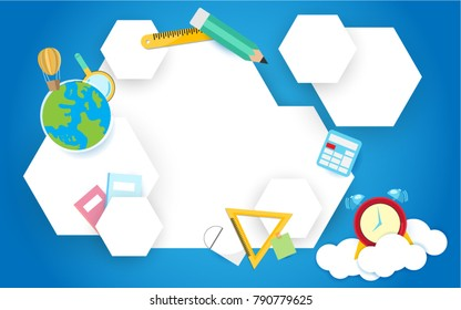 Elementary school, Back to school concept on white background. Element for design, advertising. Vector illustration.