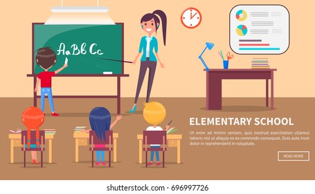 Elementary school banner with children sitting at desks and studying alphabet at lesson, teacher stands near blackboard, table with stationery items behind