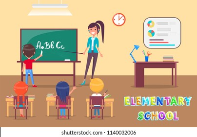 Elementary school grammar lesson in classroom with teacher and pupils poster. Chalkboard with alphabet, clock and placard, table with drawing utensils