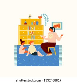 Elementary school or preschool kids sitting and reading a book with a teacher. Education of children illustration in vector.