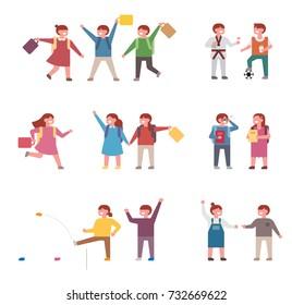 Elementary school students leaving school vector illustration flat design