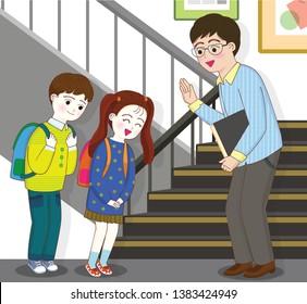 Elementary school students politely greet their teachers in the hallway.