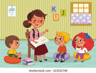 Elementary Students and Teacher