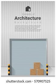 Elements of architecture , factory door background , vector ,illustration