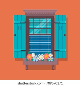 Elements of architecture , window background. Window with flower pots on a wall. Cartoon house element. Cute summer flat vector illustration. European street