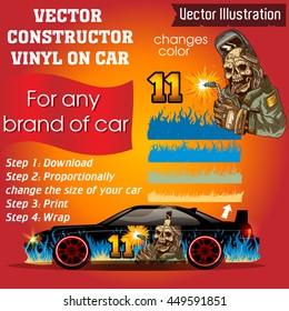 Elements for carwrap, vinyl sticker, polymer film. Vector constructor - EPS10