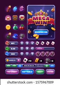 Elements for casino games and slots games, icon sets and buttons for game design. Big win screen.