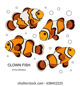 Elements of a clown fish made in the style of doodle. Vector illustration.
