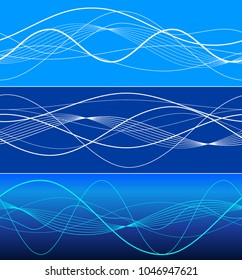 Elements design. Abstract wavy stripes overlaying blue glowing background for page brochure, poster. Creative art lines picture. Vector illustration eps 10 Freshness natural theme, Fresh Water