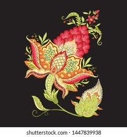Elements for design. Fantasy flowers, traditional Jacobean embroidery style. Embroidery imitation. Vector illustration in red and green colors isolated on black background.