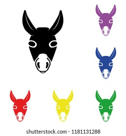 Elements of donkey in multi colored icons. Premium quality graphic design icon. Simple icon for websites, web design, mobile app, info graphics on white background