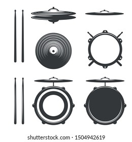 Elements of Drum kit. Drumkit Tools. Isolated on White Background.