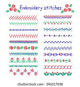 Elements of folk embroidery, cross stitch vector ornament, set of art brushes with embroidery cross. Cross stitch pattern for clothing, Vector elements of folk embroidery, stitch, stitching, border