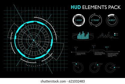 Elements futuristic the of hud interface