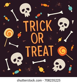 Elements Halloween. Inscription trick or treat is surrounded by bones, skulls, sweets, lollipops, candy. Vector elements for the design of leaflets, posters, greeting cards, invitations, banners.