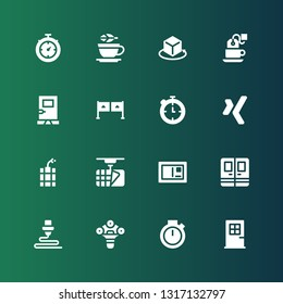 elements icon set. Collection of 16 filled elements icons included Door, Chronometer, d, Postcard, Dynamite, Xing, Entrance, Tea, Stopwatch