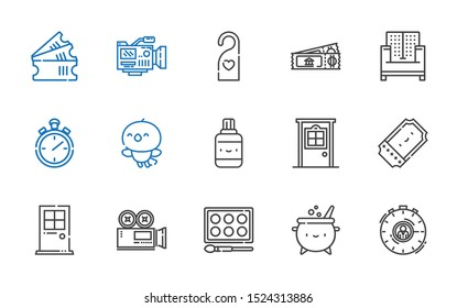 elements icons set. Collection of elements with stopwatch, cauldron, watercolor, video camera, door, ticket, correction fluid, bird, sofa. Editable and scalable elements icons.