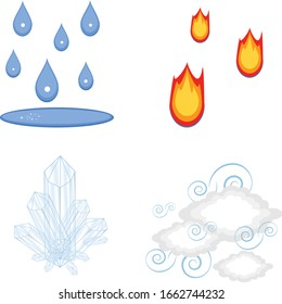 Elements icons water fire air/wind and earth crystals