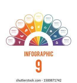 Elements of Infographics Conceptual Cyclic Processes Possible to Use for Workflow, Banner, Diagram, Web design, Timeline, Area chart,Number options. Colorful semicircle and circles for 9 Positions.