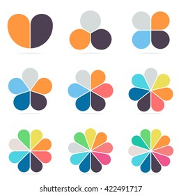 Elements for infographics. Pie charts, diagrams with 2, 3, 4, 5, 6, 7, 8, 9, 10 steps, parts. Vector design templates.