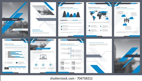 Elements of infographics for report template and presentations templates. Corporate annual report, leaflet, book cover design, brochure and flyer template design. Vector Illustration.