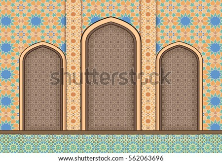 elements islamic architecture ornamental background stock vector