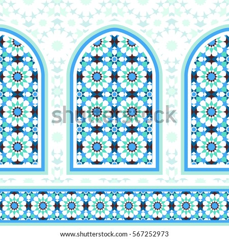 elements islamic architecture ornamental mosaic background stock