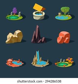 Elements landscape vector illustration for games