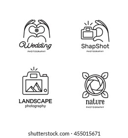 Elements for logos. Emblems for photographer.  Line art style. Human Hands folded in the form of the heart and make photo. The rocks in the viewfinder. The hand presses the button on the camera