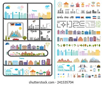 Elements of the modern city. Design your own town. Map elements for your pattern, web site or other type of design. Vector illustration.