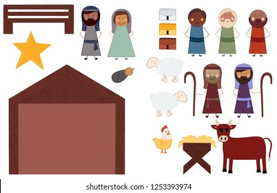 Elements Needed to Build a Nativity Scene for Christmas to Celebrate the Birth of Jesus Christ