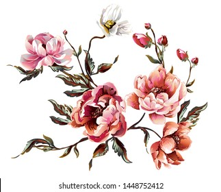 Elements of peony flower with bugs and leaves, brunch with peony flower, floral element, flower composition on white