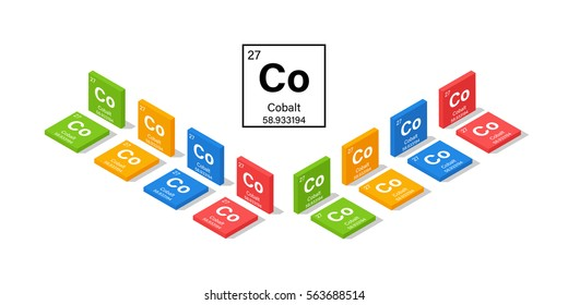 Elements in the Periodic Table Cobalt 3D Isometric Style Vector Illustration