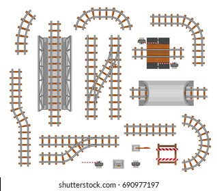 The elements of the railroad. Train pathway section, passengers transferring track, business way perspective. Vector flat style illustration isolated on white background