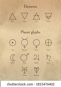 Elements Signs And Planet Glyphs Set. Planets Symbols And Fire, Water, Air, Earth Linear Icons Isolated On Beige Background. Astrology Or Esoteric Concept. Vector Design Elements For Icon, Logotype.
