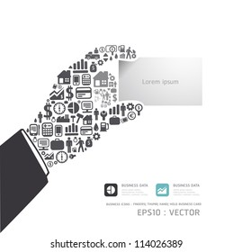 Elements are small icons Finance make in hand hold business card shape concept .Vector illustration.