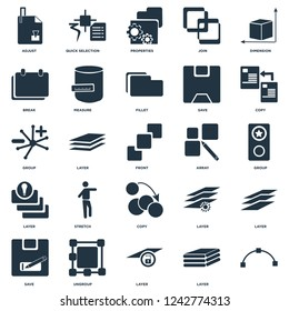 Elements Such As, Layer, Ungroup, Save, Copy, Array, Break, Properties, Quick selection icon vector illustration on white background. Universal 25 icons set.