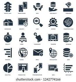 Elements Such As Bar chart, Database, Fingerprint scan, Mobile phone, Analytics, Security, Geolocation, Velocity icon vector illustration on white background. Universal 25 icons set.