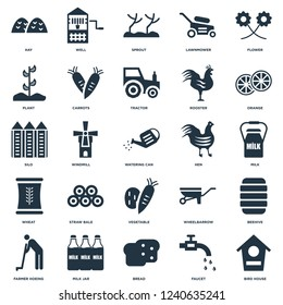 Elements Such As Bird house, Faucet, Bread, Milk jar, Farmer hoeing, Orange, Hen, Vegetable, Wheat, Plant, Sprout, Well icon vector illustration on white background. Universal 25 icons set.