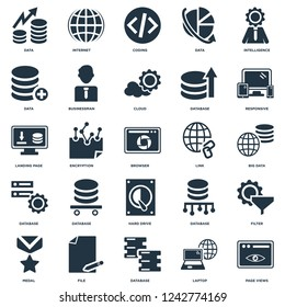 Elements Such As Page views, Laptop, Database, File, Medal, Responsive, Link, Hard drive, Data, Coding, Internet icon vector illustration on white background. Universal 25 icons set.
