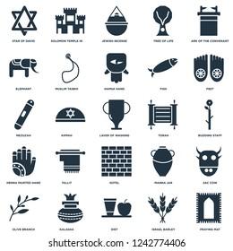 Elements Such As Praying Mat, Budding Staff, Feet, Solomon Temple In Jerusalem, Olive Branch, Muslim Tasbih, Manna Jar, Mezuzah icon vector illustration on white background. Universal 25 icons set.